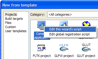 Wizard scripts context menu
